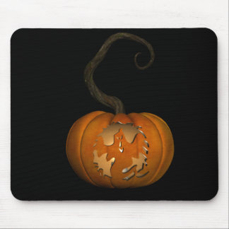 Scary Ghost Carved Pumpkin Mousepad