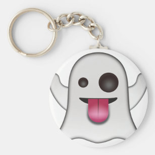 Scary Ghost Emoji Cool Fun Key Ring
