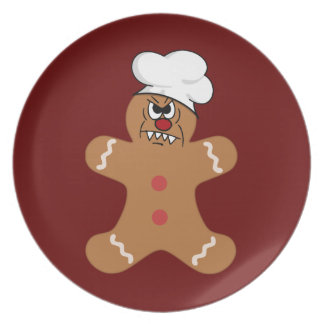 Scary Gingerbread Man Cookie Party Plate