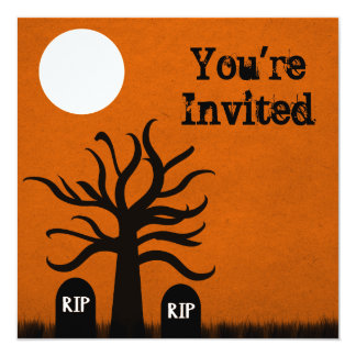 "Scary Graveyard Halloween Invite, Orange 5.25"" Square Invitation Card"