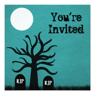 """Scary Graveyard Halloween Invite, Teal 5.25"""" Square Invitation Card"""
