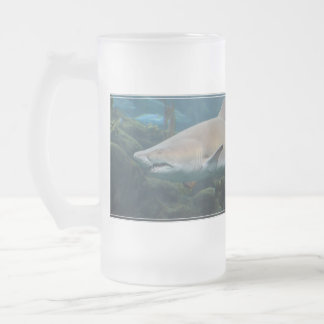 Scary Great White Shark Frosted Glass Beer Mug