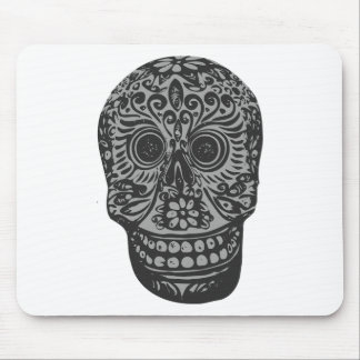 Scary Grey Sugar Skull Halloween Head Mouse Pad