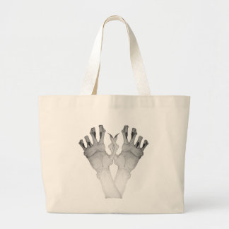 Scary gruesome monster hand with long nails art jumbo tote bag