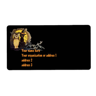 Scary Halloween Black Cat Shipping Label