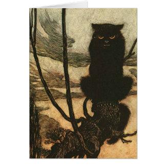 Scary Halloween Black Cat Vintage Rackham Card