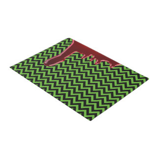 Scary Halloween Bloody Black Neon Green Chevrons Doormat