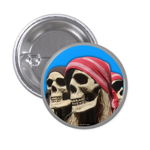 Scary Halloween Button Pirate Skull 1
