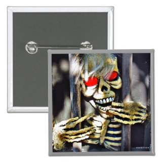 Scary Halloween Button Skeleton Laugh 2