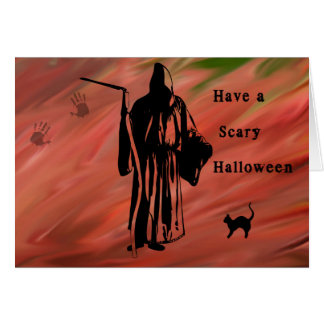 Scary Halloween Card with Grim Reaper