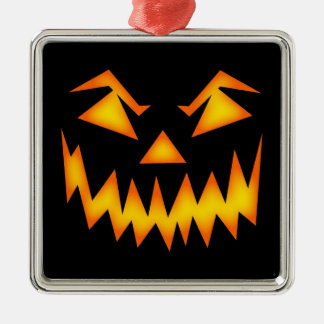 Scary Halloween Face Silver-Colored Square Decoration