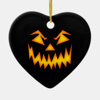 Scary Halloween Face Ceramic Heart Decoration