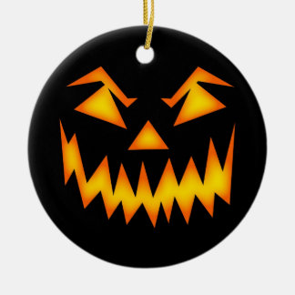 Scary Halloween Face Round Ceramic Decoration
