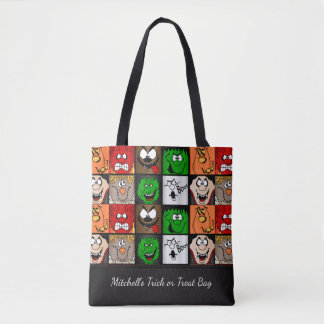 Scary Halloween Faces Tote Bag