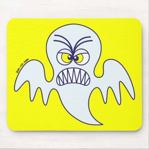 Scary Halloween Ghost Emoticon Mouse Pad
