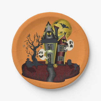 Scary Halloween Haunted House with ghost Paper Plate