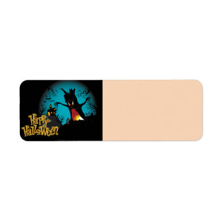Scary Halloween Haunted house with tree Return Address Label