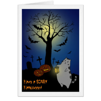 Scary Halloween Night @ the Cemetery Greeting Card