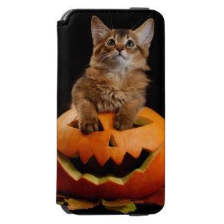 Scary Halloween Pumpkin And Somali Kitten Incipio Watson™ iPhone 6 Wallet Case