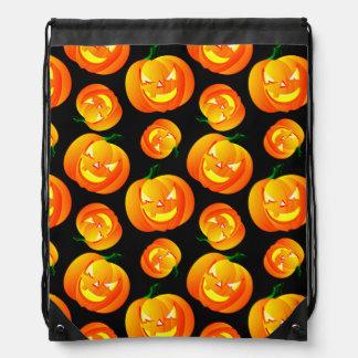 Scary Halloween Pumpkin Jack-O-Lantern Black Drawstring Bag