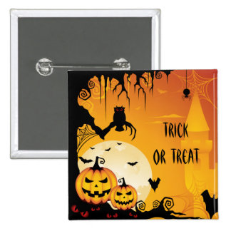 Scary Halloween Pumpkins and Full Moon 15 Cm Square Badge