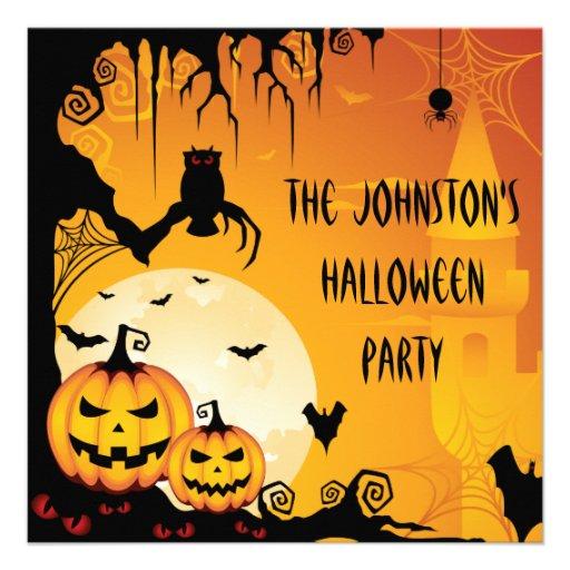 Scary Halloween Pumpkins and Full Moon Custom Invitations