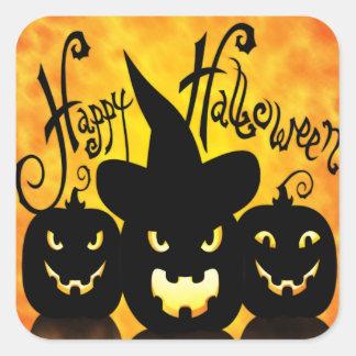 Scary Halloween Pumpkins Square Sticker
