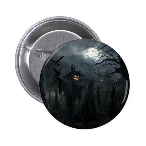 Scary halloween scarecrow Button