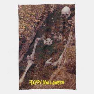 Scary Halloween Skeleton Bones Graveyard Designed Tea Towel