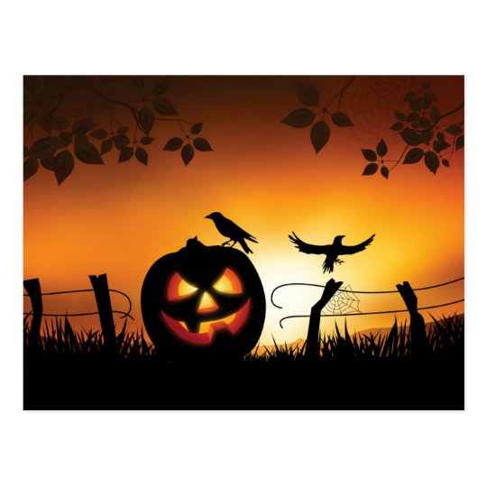 Scary Halloween Themed Background Postcard
