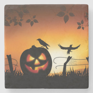 Scary Halloween Themed Background Stone Beverage Coaster
