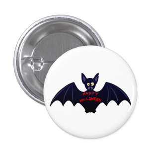 Scary halloween vampire bat 3 cm round badge