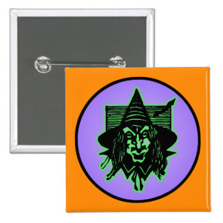 Scary Halloween Witch 15 Cm Square Badge