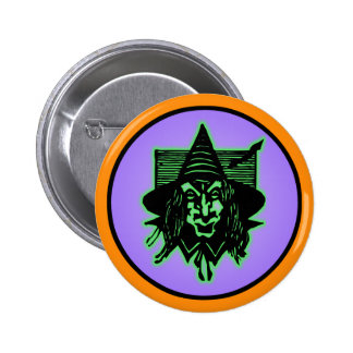 Scary Halloween Witch Pinback Button