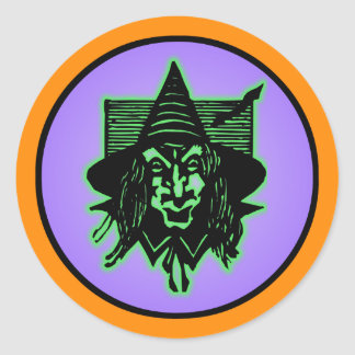 Scary Halloween Witch Classic Round Sticker