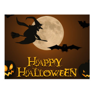 Scary Halloween Witch Night Postcard