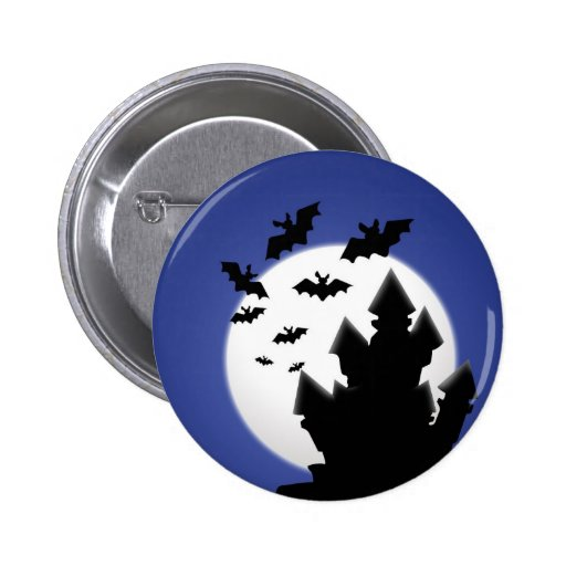 Scary haunted house halloween Button