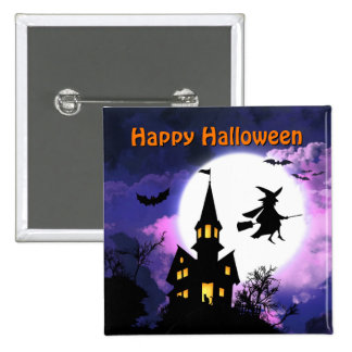 Scary Haunted House with Witch - Happy Halloween 15 Cm Square Badge