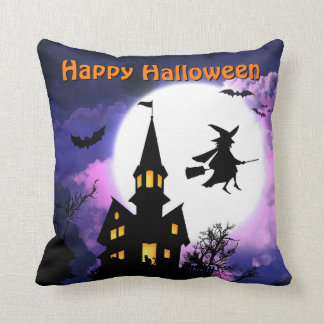 Scary Haunted House with Witch - Happy Halloween Pillow