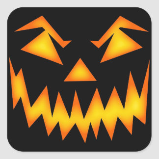 Scary Jack O Lantern Face Square Sticker
