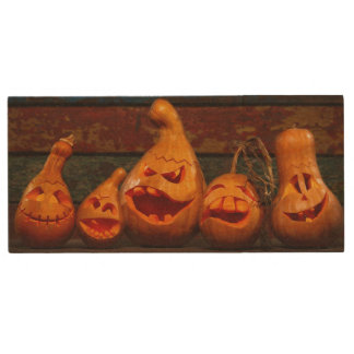 Scary Jack O Lantern Halloween Pumpkins 3 Wood USB 2.0 Flash Drive