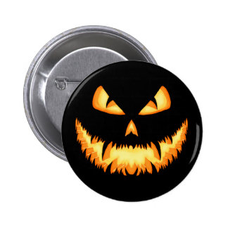 Scary Jack O Lantern with an evil grin and hungry 6 Cm Round Badge