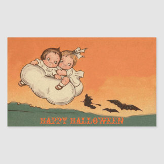 Scary Kids Bats and Witch on Broom Happy Halloween Rectangular Sticker