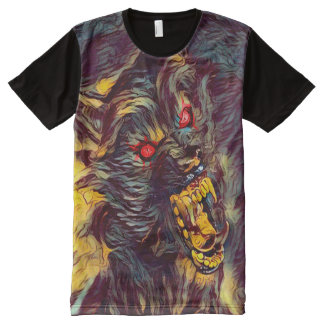 Scary Killer Werewolf Dark Horror Art All-Over Print T-Shirt