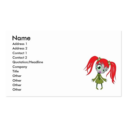 Scary Little Creepy Girl Business Card Templates
