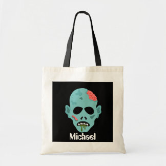 Scary Monster add name Halloween trick treat bag