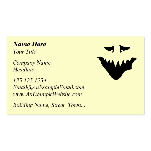 Scary Monster Face. Black. Business Cards