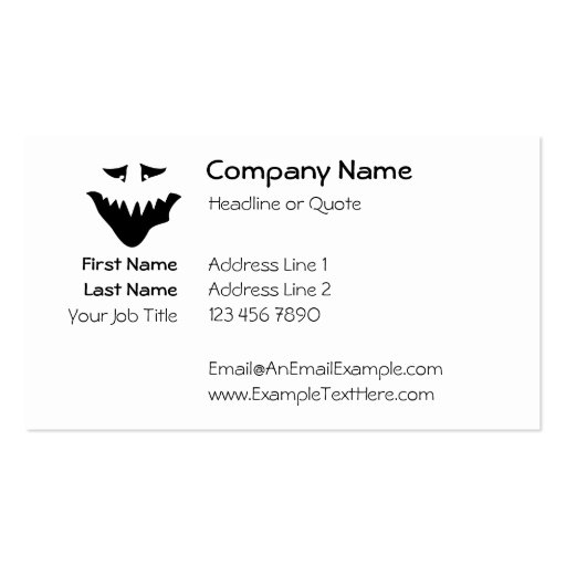 Scary Monster Face. Black. Business Card