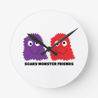 Scary Monster Friends Round Clock