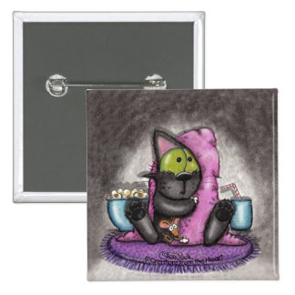 Scary Movie Night-Cat and Mouse 15 Cm Square Badge